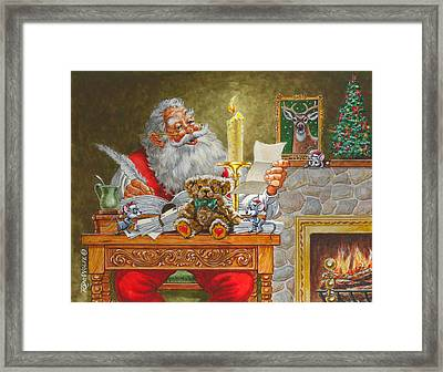 Dear Santa Framed Print by Richard De Wolfe