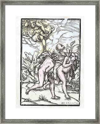 Death Comes For Adam And Eve In The Framed Print by Vintage Design Pics