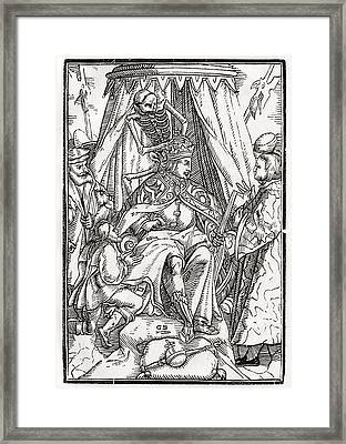 Death Comes For The Emperor Woodcut By Framed Print by Vintage Design Pics