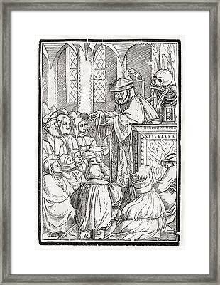 Death Comes For The Preacher Woodcut By Framed Print by Vintage Design Pics