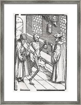Death Comes To The Doctor Woodcut By Framed Print by Vintage Design Pics
