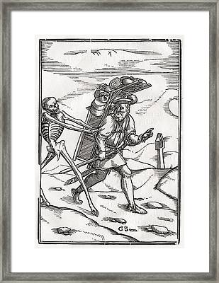 Death Comes To The Pedlar Woodcut By Framed Print by Vintage Design Pics