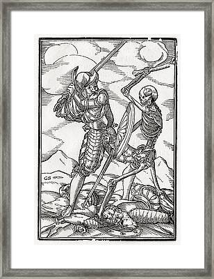 Death Comes To The Soldier Woodcut By Framed Print by Vintage Design Pics
