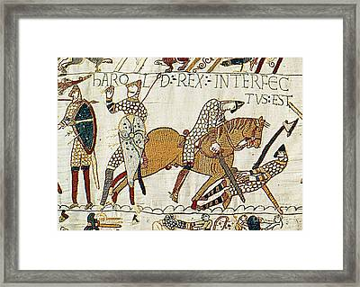 Death Of Harold, Bayeux Tapestry Framed Print by Photo Researchers