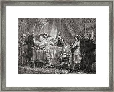 Death Of Mirabeau.honor  Gabriel Framed Print by Vintage Design Pics