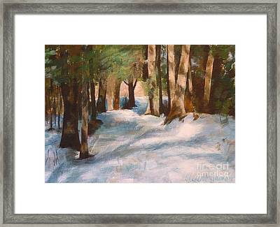 December Snow Path Framed Print by Claire Gagnon