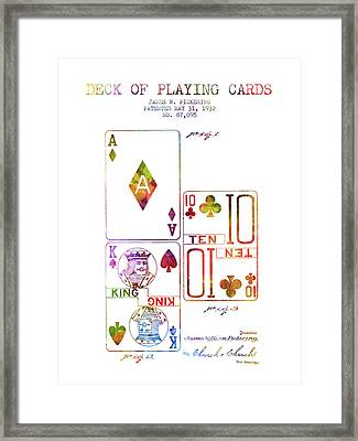 Deck Of Playing Cards Patent From 1932 - Charcoal Framed Print by Aged Pixel