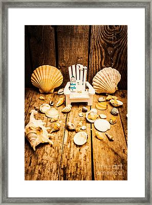 Deckchairs And Seashells Framed Print by Jorgo Photography - Wall Art Gallery