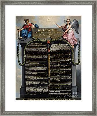 Declaration Of The Rights Of Man And Citizen Framed Print by French School