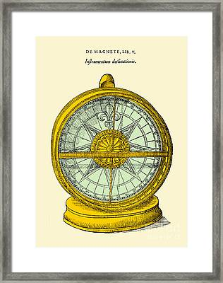 Declinometer, 17th Century Illustration Framed Print by Science Source