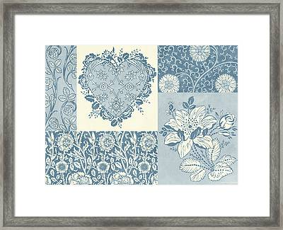 Deco Heart Blue Framed Print by JQ Licensing