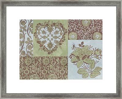Deco Heart Sage Framed Print by JQ Licensing