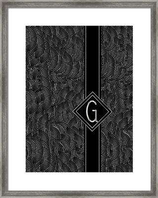 Deco Jazz Swing Monogram ...letter G Framed Print by Cecely Bloom