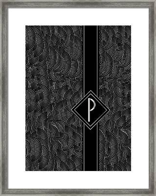 Deco Jazz Swing Monogram ...letter P Framed Print by Cecely Bloom