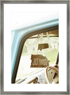 Decorated Car Interior With Wooden Just Framed Print by Gillham Studios