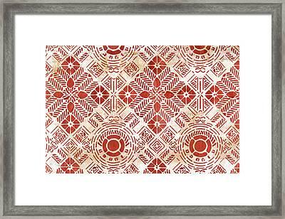Decorative Vintage Pattern Sanguine Red Framed Print by Frank Tschakert