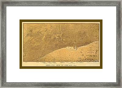 Decorative Vintage Sepia Map Of Chicago Framed Print by Pd