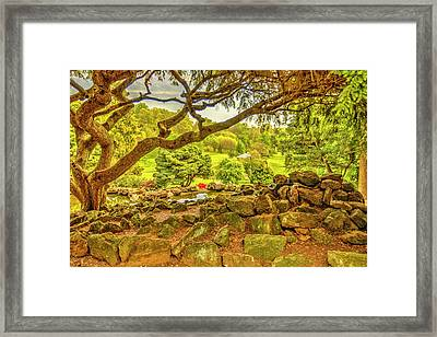 Deep Cuts Garden Gazebo And Landscape Framed Print by Geraldine Scull