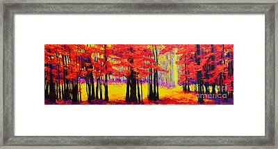 Deep Within - Enchanted Forest Collection - Modern Impressionist Landscape Art - Palette Knife Framed Print by Patricia Awapara