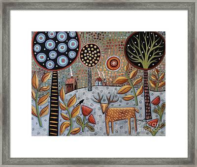 Deer And Bird 1 Framed Print by Karla Gerard