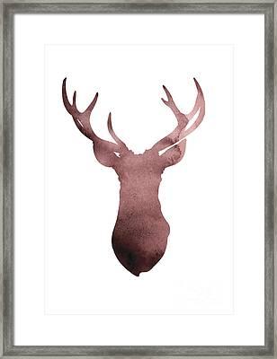 Deer Antlers Silhouette Minimalist Painting Framed Print by Joanna Szmerdt