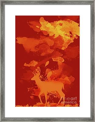 Deer Art Evening Framed Print by Prar Kulasekara