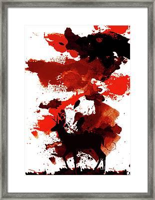Deer Art Night Framed Print by Prar Kulasekara