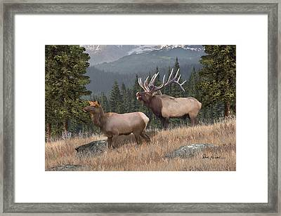 Deer Art - Rocky Mountain Elk Framed Print by Dale Kunkel Art