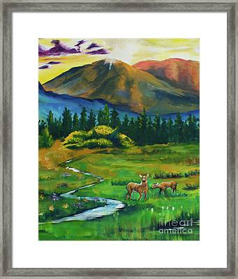 Deer At Dusk  Crop From Marks Farm Framed Print by Caitlin Lodato
