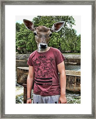 Deer Head On Boy Framed Print by KJ DePace