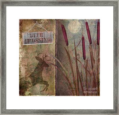 Deer Crossing  Framed Print by Mindy Sommers