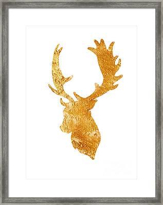 Deer Head Silhouette Drawing Framed Print by Joanna Szmerdt