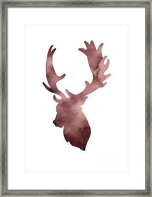Deer Head Silhouette Minimalist Painting Framed Print by Joanna Szmerdt