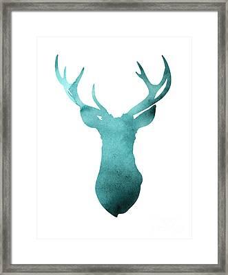 Deer Head Watercolor Giclee Print Framed Print by Joanna Szmerdt