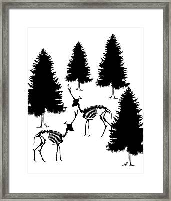 Deer Skeleton - Winter Scene Framed Print by Mordax Furittus