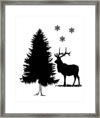 Deer Winter Scene Framed Print by Mordax Furittus