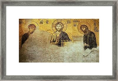 Deesis Mosaic Hagia Sophia-christ Pantocrator-judgement Day Framed Print by Urft Valley Art