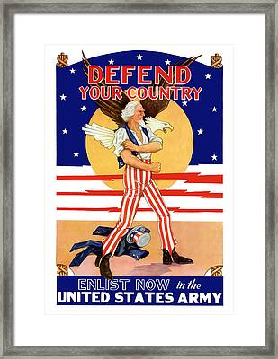 Defend Your Country Enlist Now  Framed Print by War Is Hell Store