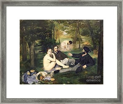 Dejeuner Sur L Herbe Framed Print by Edouard Manet