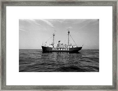 Delaware Lightship Atlantic Ocean Vintage 1968 Framed Print by Wayne Higgs