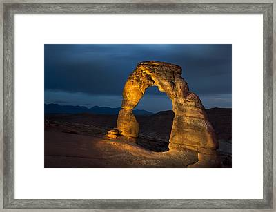Delicate Arch At Night Framed Print by Adam Romanowicz