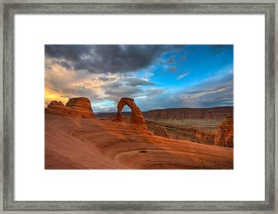 Delicate Arch Sunset Framed Print by Jeff Clay