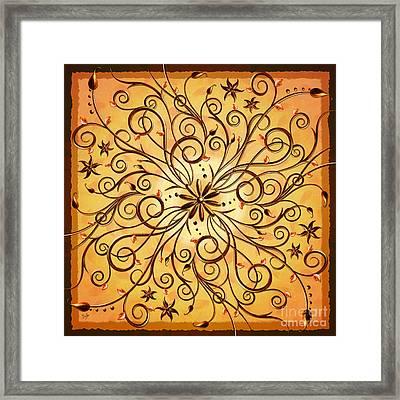 Delicate Floral Scrolls Framed Print by Bedros Awak