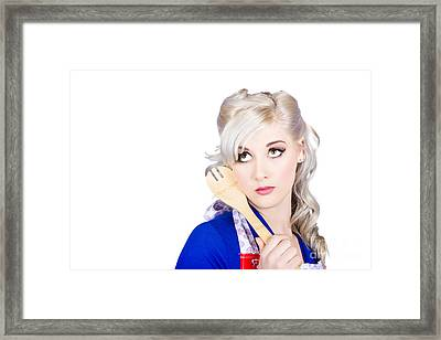 Delicious Young Blonde Pinup Model With Cooking Spoon Framed Print by Jorgo Photography - Wall Art Gallery