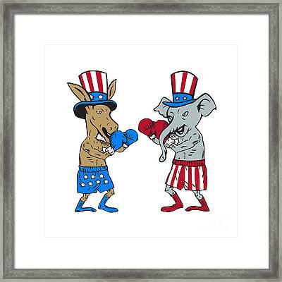Democrat Donkey Boxer And Republican Elephant Mascot Cartoon Framed Print by Aloysius Patrimonio