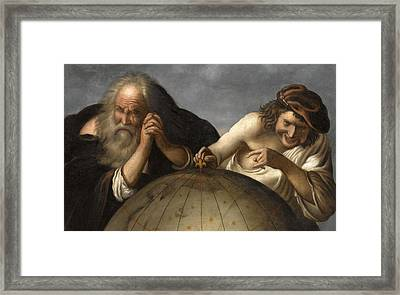 Democritus And Heraclitus Framed Print by After Johannes Moreelse