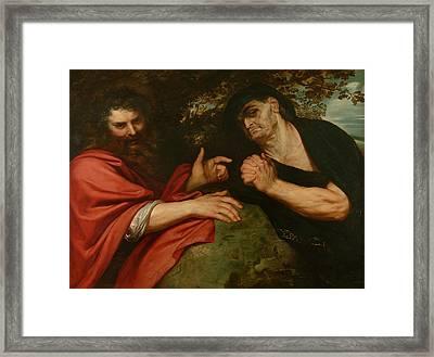 Democritus And Heraclitus Framed Print by Peter Paul Rubens