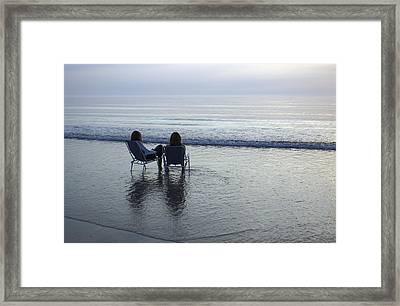 Denmark, Romo, Two Young Women Relaxing Framed Print by Keenpress