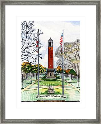 Denny Chimes At University Of Alabama Framed Print by Yang Luo-Branch
