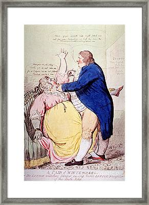 Dentist And Patient Caricature, 1797 Framed Print by Science Source